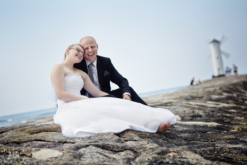 wydmy, kamienie, morze, Para ślubna