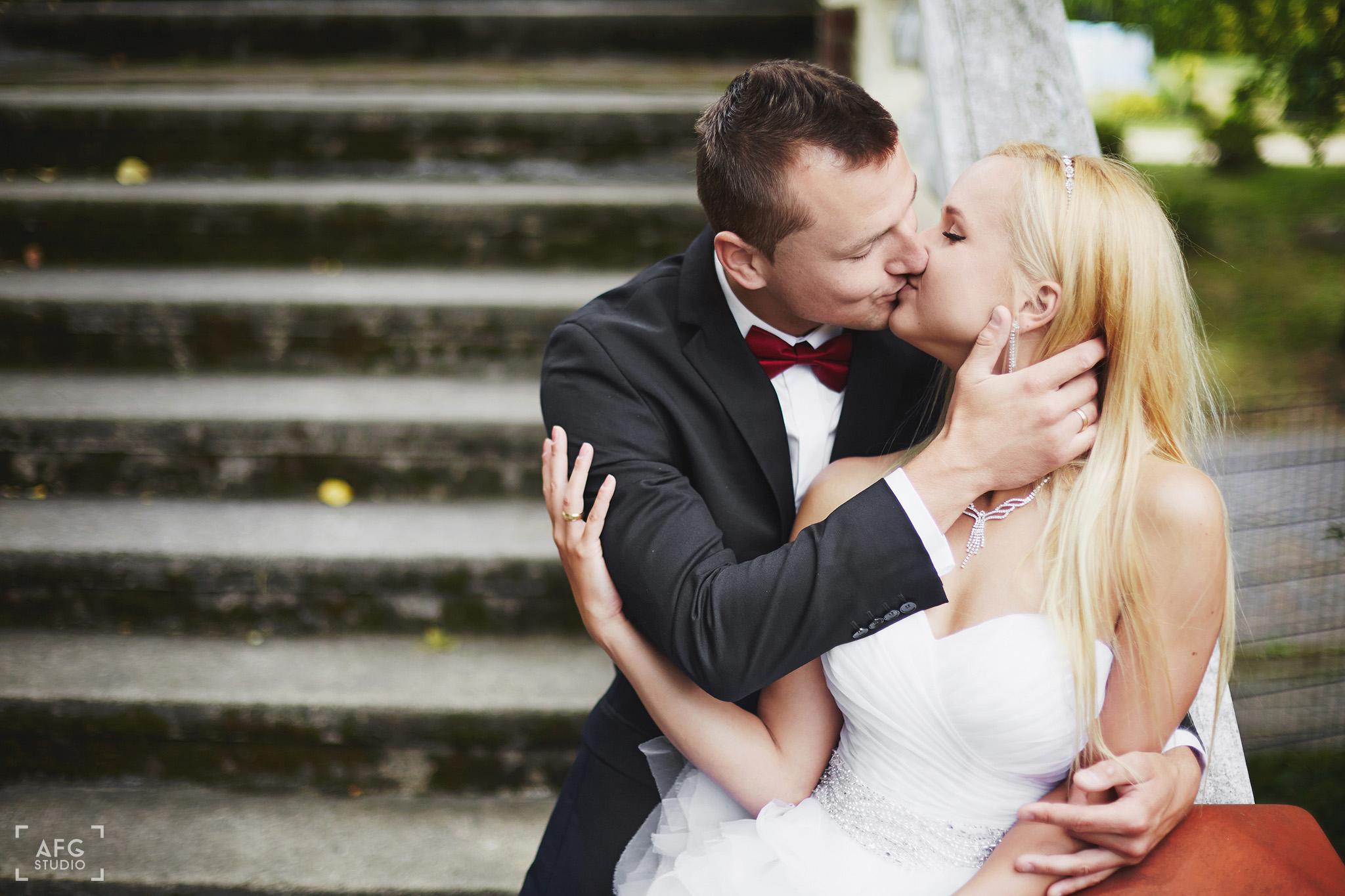 schody, Park w Iłowej, pocałunek