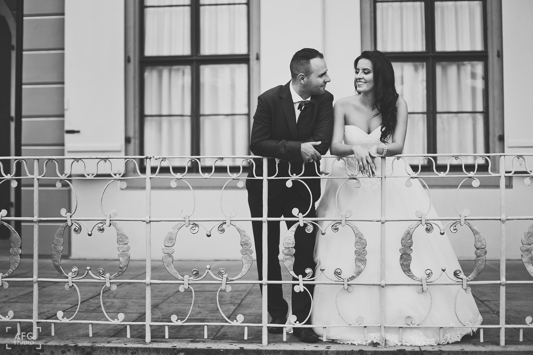balkon, zamek, nowożeńcy
