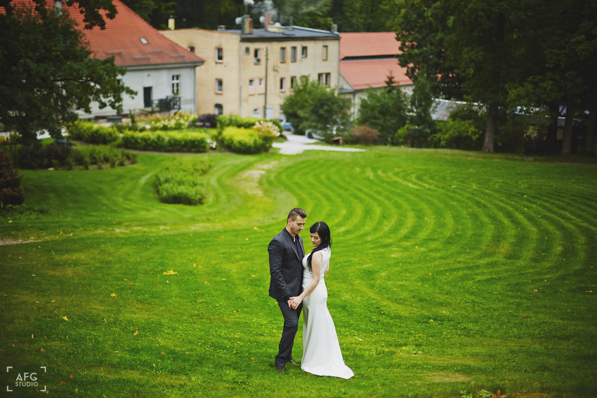 pole, suknia ślubna, domy