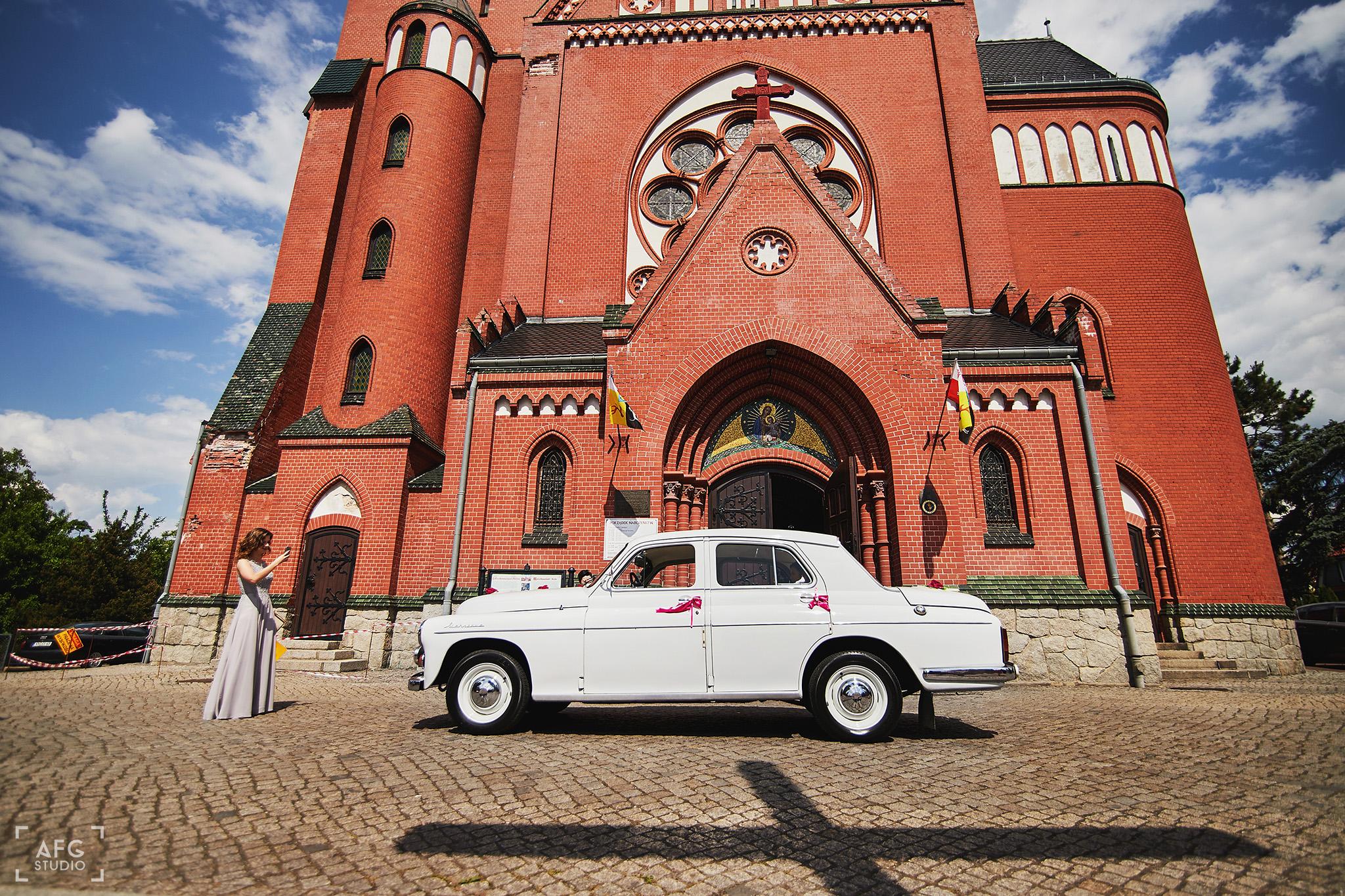kościół, ślub, samochód